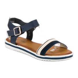 Top Shoes Marynarskie sandały damskie niebieskie 2
