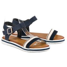 Top Shoes Marynarskie sandały damskie niebieskie 5
