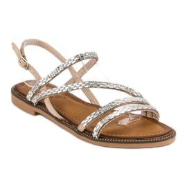 Fama Stylowe płaskie sandały brązowe 2