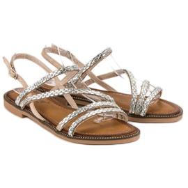 Fama Stylowe płaskie sandały brązowe 1