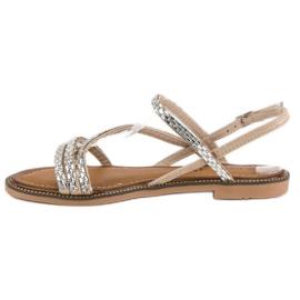 Fama Stylowe płaskie sandały brązowe 3
