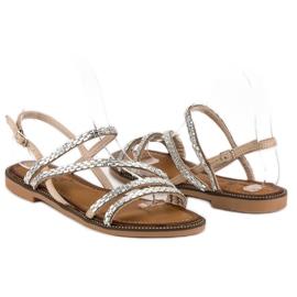 Fama Stylowe płaskie sandały brązowe 4