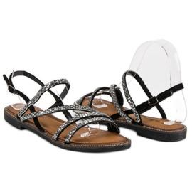 Fama Stylowe płaskie sandały czarne 3