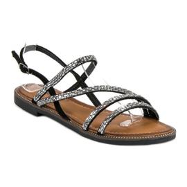 Fama Stylowe płaskie sandały czarne 1
