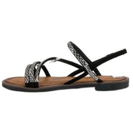 Fama Stylowe płaskie sandały czarne 2
