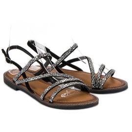 Fama Stylowe płaskie sandały czarne 4