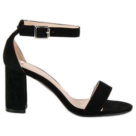 Diamantique Zamszowe sandały na słupku czarne 4