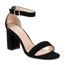 Diamantique Zamszowe sandały na słupku czarne 5