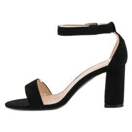 Diamantique Zamszowe sandały na słupku czarne 6