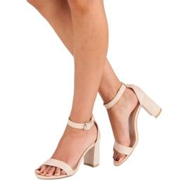 Diamantique Zamszowe sandały na słupku brązowe 4