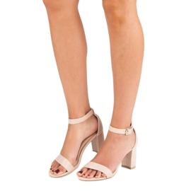 Diamantique Zamszowe sandały na słupku brązowe 3
