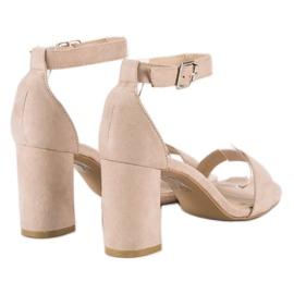 Diamantique Zamszowe sandały na słupku brązowe 1