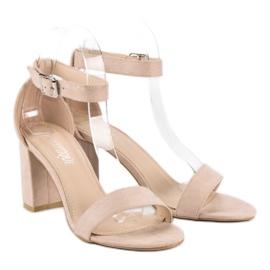 Diamantique Zamszowe sandały na słupku brązowe 2