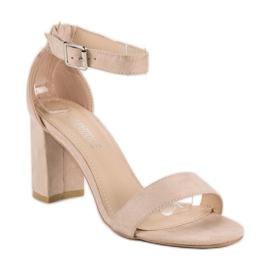 Diamantique Zamszowe sandały na słupku brązowe 6