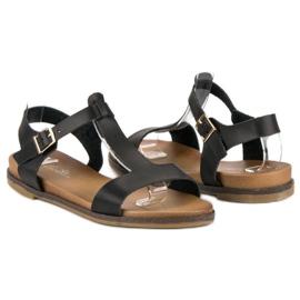 Licean Czarne sandały na sprzączkę 1