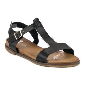 Licean Czarne sandały na sprzączkę 3