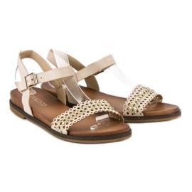Licean Eleganckie beżowe sandały beżowy 1