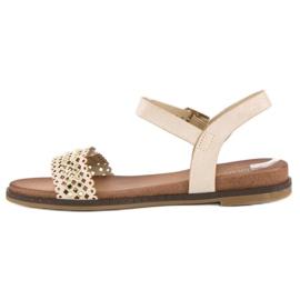 Licean Eleganckie beżowe sandały beżowy 3