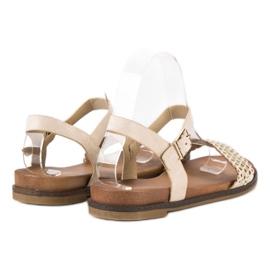 Licean Eleganckie beżowe sandały beżowy 4