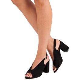 Lovery Stylowe sandały na obcasie czarne 3