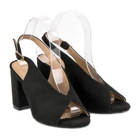 Lovery Stylowe sandały na obcasie czarne 1