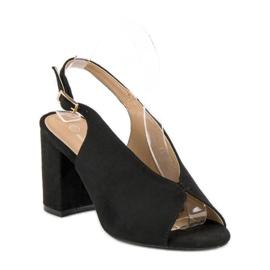 Lovery Stylowe sandały na obcasie czarne 4