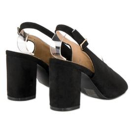 Lovery Stylowe sandały na obcasie czarne 6