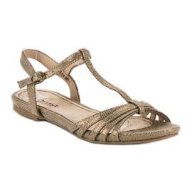 Corina Złote płaskie sandały złoty 2