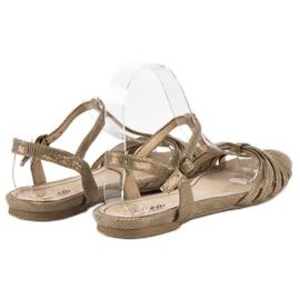 Corina Złote płaskie sandały złoty 1