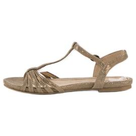 Corina Złote płaskie sandały złoty 3
