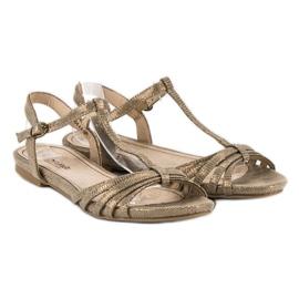 Corina Złote płaskie sandały złoty 4