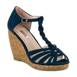 Corina Wygodne sandały na koturnie niebieskie 5