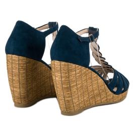 Corina Wygodne sandały na koturnie niebieskie 7