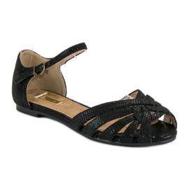 Corina Eleganckie płaskie sandały czarne 1