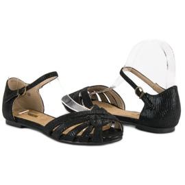 Corina Eleganckie płaskie sandały czarne 3