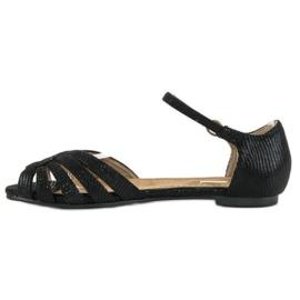Corina Eleganckie płaskie sandały czarne 2