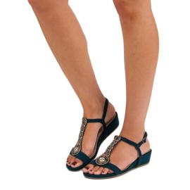 Corina Granatowe sandały na sprzączkę niebieskie 2