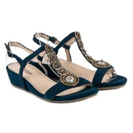 Corina Granatowe sandały na sprzączkę niebieskie 1
