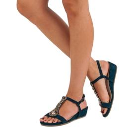Corina Granatowe sandały na sprzączkę niebieskie 3