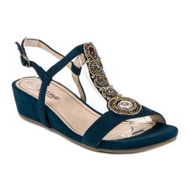 Corina Granatowe sandały na sprzączkę niebieskie 4
