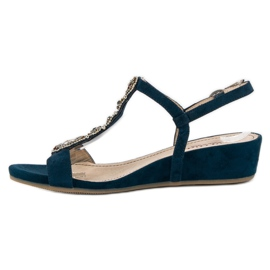 Corina Granatowe sandały na sprzączkę niebieskie 5