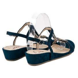 Corina Granatowe sandały na sprzączkę niebieskie 6