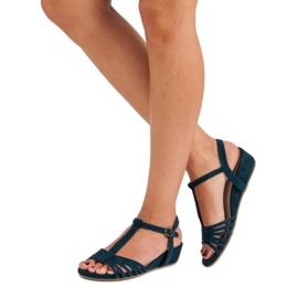 Corina Sandały Na Niskiej Koturnie niebieskie 3