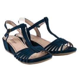 Corina Sandały Na Niskiej Koturnie niebieskie 1