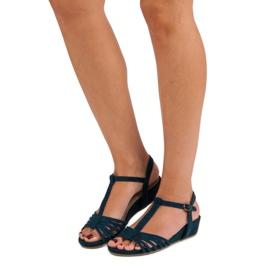 Corina Sandały Na Niskiej Koturnie niebieskie 2