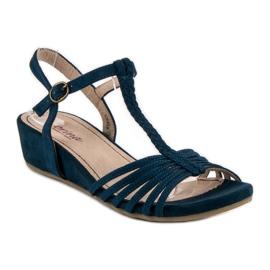 Corina Sandały Na Niskiej Koturnie niebieskie 4