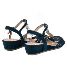 Corina Sandały Na Niskiej Koturnie niebieskie 6