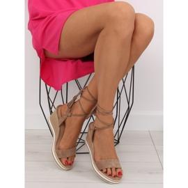 Sandałki na koturnie beżowe JH630 khaki beżowy 5