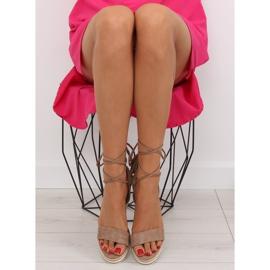 Sandałki na koturnie beżowe JH630 khaki beżowy 4