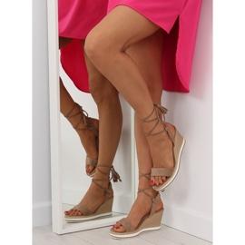 Sandałki na koturnie beżowe JH630 khaki beżowy 6